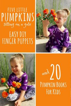 "Pumpkin Play for Preschoolers — DIY Finger Puppets and Twenty Pumpkin Books for Kids...These simple finger puppets have inspired a lot of fun Halloween storytelling in my house. Click through for the ""how to"" and a kids book list featuring 20 fiction and nonfiction tiles about pumpkins for toddlers and preschoolers. Halloween Activities For Kids, Preschool Learning Activities, Activities For Autistic Children, Diy Crafts For Kids, Preschool Science, Toddler Preschool, Halloween Fun, Fall Crafts, Preschool Ideas"