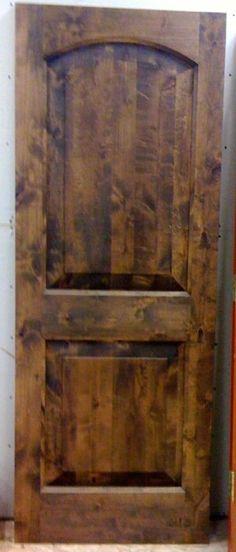 Knotty Pine Barn Door Dark Walnut Stain Interior