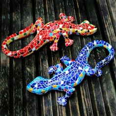 Mosaic Coloured Blue and Orange Lizard Garden Ornaments - Two Designs Available #garden #ornament #mosaic