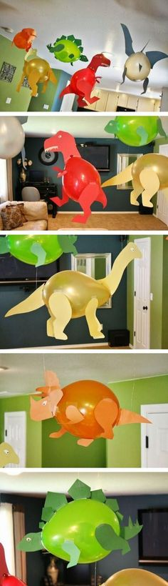 An adorable and easy idea for a dinosaur themed birthday party decoration. DIY Dinosaur balloons!