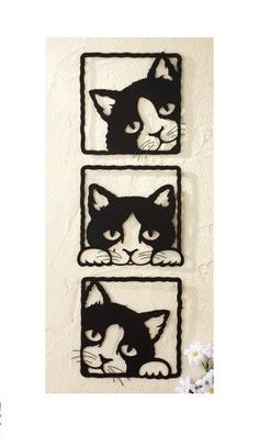 Set of 3 Peeping Black Cats Square Metal Wall Art Hanging Plaques Home Decor