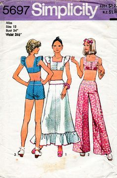 1970s Crop Top Maxi Skirt Shorts & Pants Pattern by BessieAndMaive