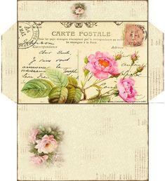 VINTAGE POSTCARD IMAGE ENVELOPE Vintage Tags, Vintage Labels, Vintage Ephemera, Vintage Postcards, Envelope Pattern, Diy Envelope, Decoupage Vintage, Vintage Paper, Paper Art