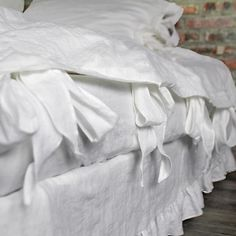 Bow Ties Washed Linen Duvet Cover Optic White
