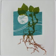 Linocut relief print, Moon and Weed, embossed square. Hand pulled print. £45.00, via Etsy.