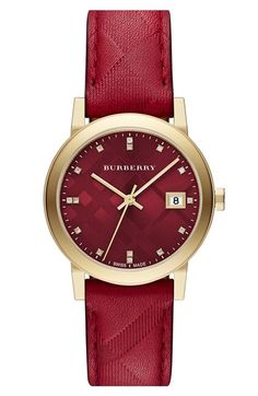 beautiful, rich red leather Burberry watch http://rstyle.me/n/r27wdr9te