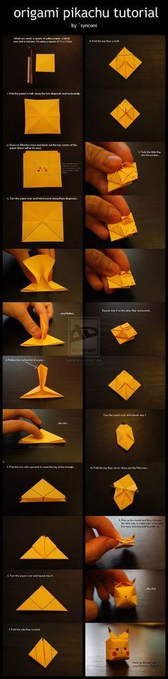 Origami Pikachu Tutorial by `synconi on deviantART