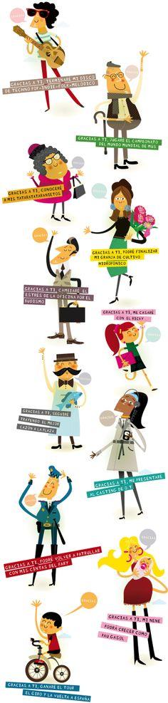 """Personajes del cartel """"Gracias por adelantado"""" para ayudar a la concienciación de la donación de órganos. www.raulgomez.es"""