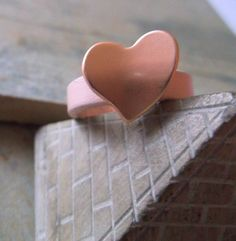 Rose Gold Heart And Leather Ring