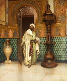 An Arab in a Palace Interior by Rudolph Ernst