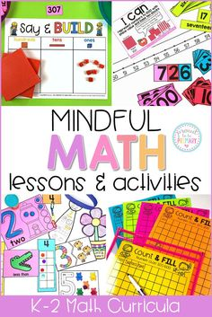 Mindful Math is a comprehensive, guided math curriculum that includes simple to prep materials, tons of activities, math centers, math games, differentiated worksheets, and whole group lessons. Available for Kindergarten, First Grade and Second Grade. Everything you need for an entire year of primary math instruction! #mathforkids #secondgrademath #kindergartenmath #1stgrademath #2ndgrademath #firstgrademath