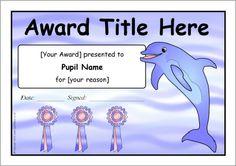 Editable dolphin-themed certificate templates (SB10497) - SparkleBox Classroom Organisation, Classroom Themes, Classroom Management, Printable Certificates, Certificate Templates, Ocean Unit, Ocean Party, Free Teaching Resources, School Days