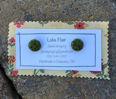 Green Floral Fabric Earrings by JamieGregoryHandmade on Etsy