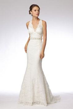 Modern v-neck empire waist lace wedding dress