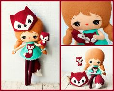 PDF. Fox girl with mask and puppet .Plush Doll Pattern by Noialand