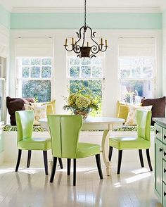 These colors make me feel happy.  Love the painted floor. If my husband dies, I will paint all my floors.