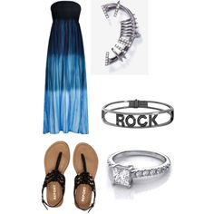 A fashion look from March 2015 featuring Monsoon gowns, Aéropostale sandals and Spallanzani bracelets. Browse and shop related looks.