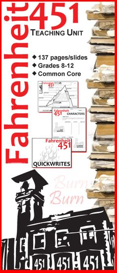A fiery teaching unit for Ray Bradbury's classic novel Fahrenheit 451. 137 pages of activities that are sure to engage high school English students. Plot, Conflict, Characters, Writing Journals, Pop Quizzes, Vocabulary, Figurative Language, Projects, Essay by Created for Learning