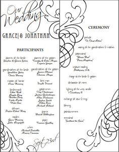DIY Simple Scroll Wedding Program by FrolickingLarkDesign on Etsy, $20.00