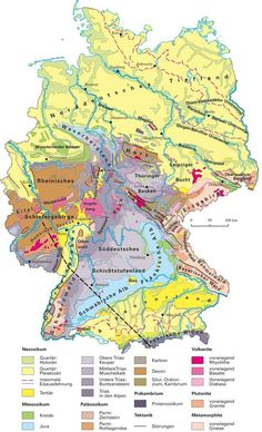 Geologische Karte von Deutschland - geological map of Germany. Physical Geography, Learn German, Old Maps, Elementary Science, German Language, Historical Maps, Earth Science, Germany Travel, Family History