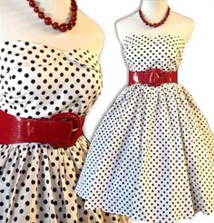 Rockabilly White and Black polka Dot Dress - NEW ARRIVAL
