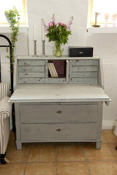 Color and style perfection, but I'd get a smaller desk - painted grey desk with flowers and candles