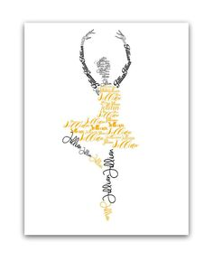 Personalized Ballerina Name Art Ballet Gifts by LuvOfMineDesigns