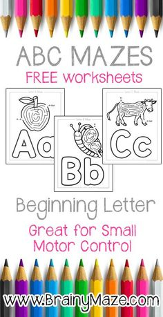 Alphabet Mazes, Worksheets, and Activity Pages!  Free from BrainyMaze.com http://brainymaze.com/theme-mazes/
