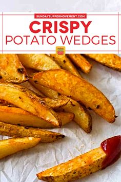 Baked Crispy Potato Wedges are a perfect side dish! They are crispy on the outside but soft on the inside and so tasty. #SundaySupper #potatowedges #crispy #bakedpotatowedges #wedges #crispywedges #bakedwedges #sidedish Crispy Baked Potato Wedges, Easy Baked Potato, Potato Wedges Recipe, Crispy Potatoes, Bison Burger Recipe, Tasty Potato Recipes, Creamy Pasta Bake, Best Side Dishes, Poutine