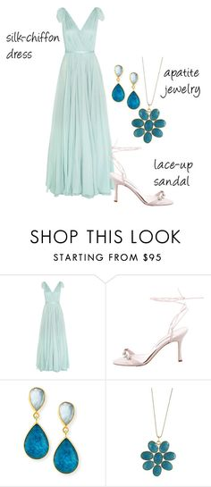"""""""Trending 12/24/2016"""" by lorelei-is-me ❤ liked on Polyvore featuring Alexander McQueen, Manolo Blahnik, Dina Mackney, Blue Candy Jewelry, sandals, silkchiffondress and apatitejewelry"""