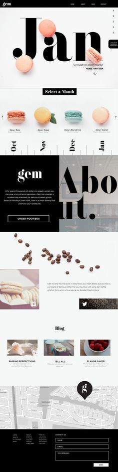 Web design and collateral for Gem Bakery, a high end macaron and coffee boutique.