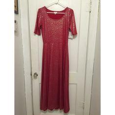 NWT Lularoe Ana - red silver maxi dress - medium NWT Lularoe Ana - red silver maxi dress - medium. Never worn. Tried on only. An eBay win. Lularoe Dresses Maxi