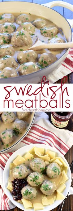 Swedish Meatballs ~ baked in the oven and then simmered in a skillet of creamy homemade gravy, this family-pleasing dinner recipe is both easy and delicious! | FiveHeartHome.com