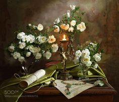 Still life with roses and candle - 2