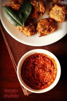tomato chutney - spicy & tangy chutney made from tomatoes. no onion no garlic recipe. #chutney #tomato