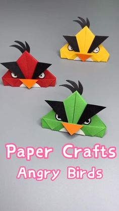 Angry Birds is a cartoon that children love, and the utility paper can be easily folded out. After watching this video tutorial, try it quickly. Check my board for another tutorial of slingshot. Paper Flowers Craft, Diy Crafts For Gifts, Paper Crafts For Kids, Creative Crafts, Preschool Crafts, Flower Paper, Origami Toys, Instruções Origami, Paper Crafts Origami