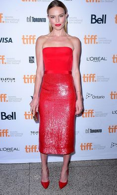 Kate Bosworth Wows In A Bold Red Hugo Boss Dress
