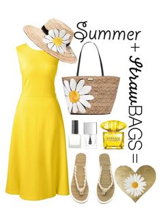 """Summer+StrawBags"" by imezzo ❤ liked on Polyvore featuring Lands' End, Kate Spade, Versace, Urban Outfitters, Lipsy, H&M, Oliver Gal Artist Co., contest and strawbags"