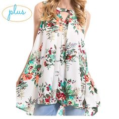 Plus Size - Floral Print Button Neck Top Gorgeous flowing top with a summertime floral print. Perfect for those of us who like to conceal the midsection, this top flares out below the chest. Cute button detail at the neck. Also, pockets! True to size! mockingbird + poppy Tops Blouses