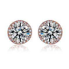 VELO Earring 0.55 ct natural genuine diamond 18K rose gold earrings fine jewelry E00795