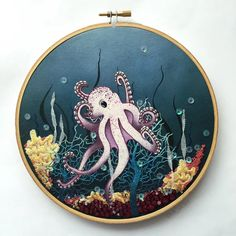 Little Octopus : Embroidery Learn Embroidery, Modern Embroidery, Embroidery Applique, Beaded Embroidery, Cross Stitch Embroidery, Embroidery Patterns, Machine Embroidery, Little Octopus, Little Fish