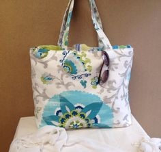 White and Turquoise Beach Tote Bag on Etsy, $40.00