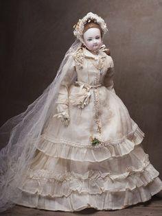 "18"" Very rare Fully original French Fashion Jumeau wedding couple"