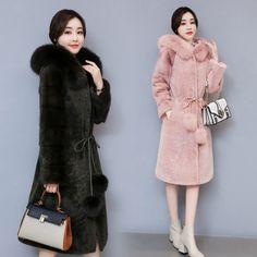 Women's Lamb Fur Wool Blend Overcoat Sweet Fur Collar Hooded Trench Coat Ol D061