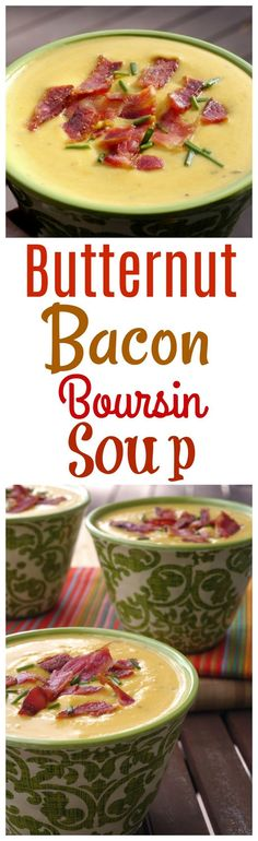 VIDEO + RECIPE: The already seasoned cheese in this absolutely creamy Butternut-Boursin-Bacon Soup puts the flavor over the top. Serve this soup as an appetizer or side dish when you are looking to impress from NoblePig.com. via @cmpollak1