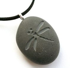 engraving stone art diy | Dragonfly - Tiny PebbleGlyph(c) Pendent - engraved stone necklace