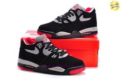 Discount Shoes Online Leather 306252-022 Black/Red Nike Air Flight 89 Mens