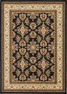 Isfahan Black Area Rug