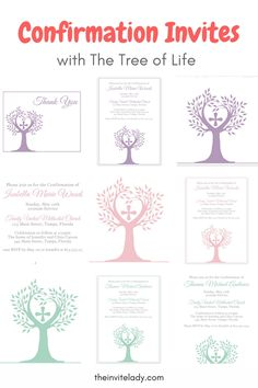 Invite guests to your Confirmation with this invitation featuring the tree of life and a cross. This confirmation invitation comes in blue, pink, purple and green.  Find more Catholic confirmation party ideas and religoius invites at theinvitelady.com. Perfect for DIY confirmation parties.