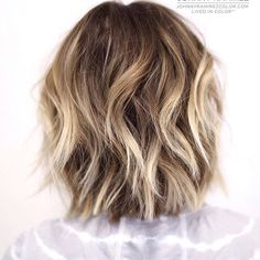 Lived in color ™ Hair color by Johnny Ramirez Hair cut by the amazing Medium Short Hair, Short Hair With Layers, Medium Hair Styles, Short Hair Styles, Cool Blonde Balayage, Long Bob Balayage, Bronde Hair, Cool Hair Color, Dyed Hair